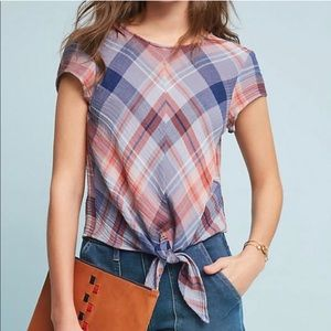 Anthropologie Cloth & Stone Plaid Tie Front Shirt